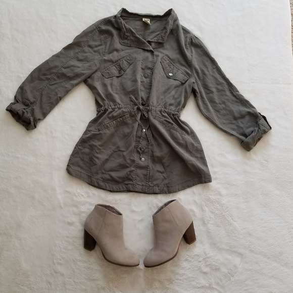 Faded Glory Tops - Olive Green Button Down Top Women's